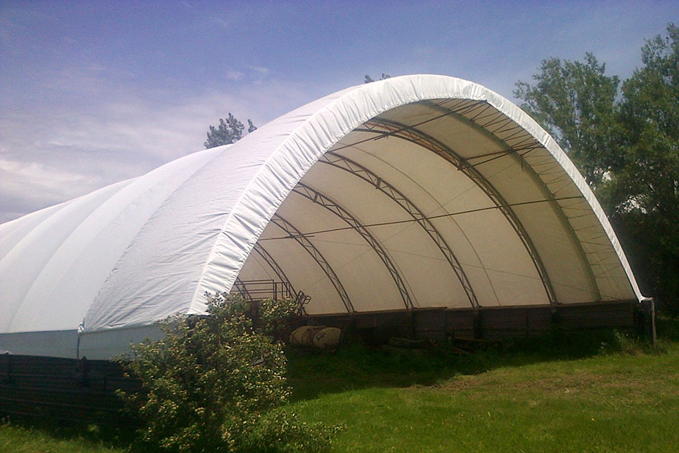 Custom canvas tarp building shelter