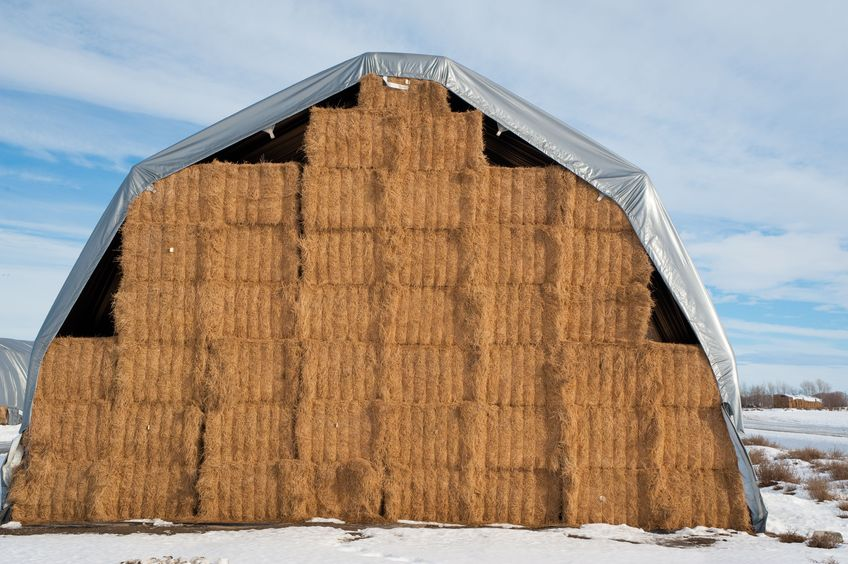 Bale tarps for outdoor winter hay storage