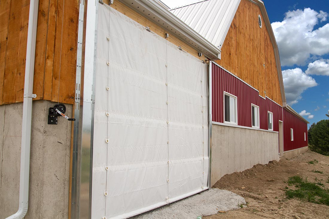 Tarp Doors for Climate and Dust Control
